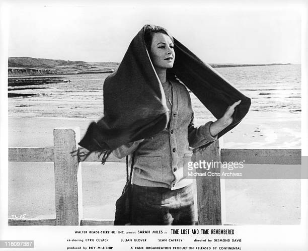Sarah Miles stands near the ocean in a scene from the film 'Time Lost and Time Remembered' 1966
