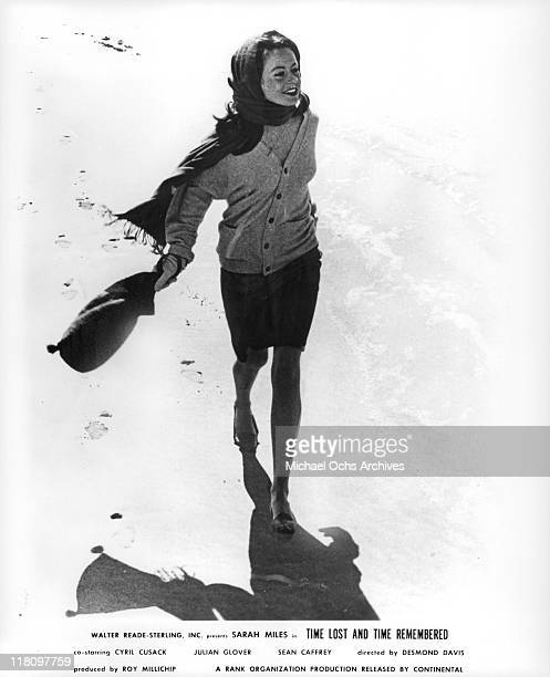 Sarah Miles walks along the beach in a scene from the film 'Time Lost and Time Remembered' 1966