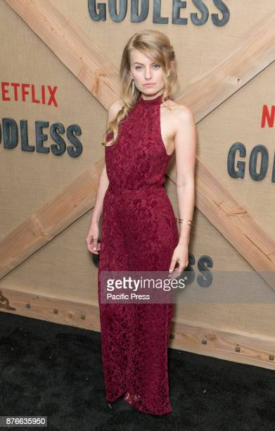 Sarah Minnich wearing dress by Anthropology attends Netflix Godless premiere at Metrograph