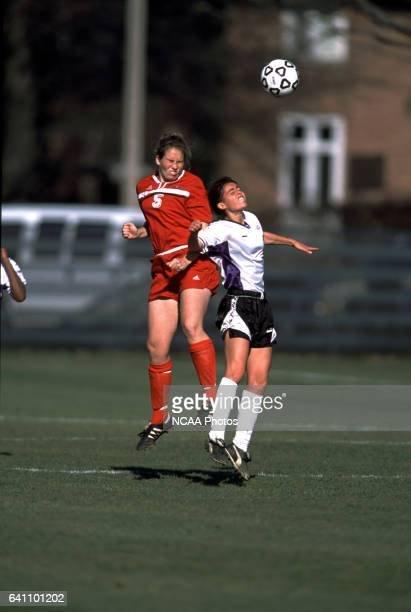 Sarah Monroe of Ohio Wesleyan Uhiversity and Mary Sarro-Waite of Amherst College go up for a header during the Divison 3 Women's Soccer Championships...