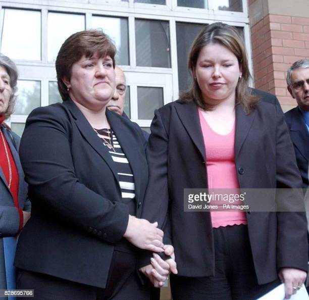 Sarah Moore and Allison Munn the widows of PC Andrew Munn and Bryan Moore leave Stafford Crown Courty after Leayon Davi Dudley was found guilty of...