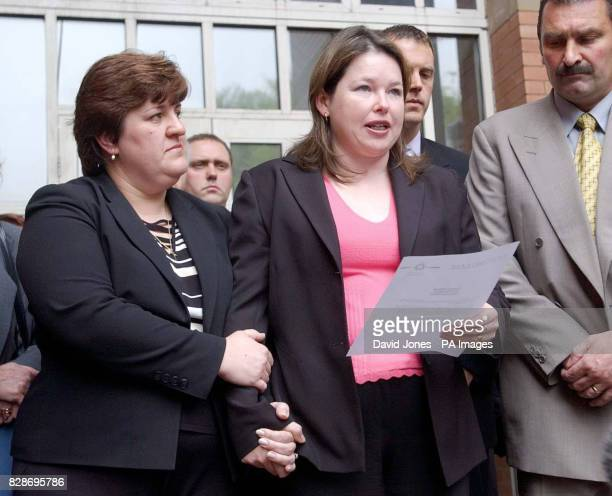 Sarah Moore and Allison Munn the widows of PC Andrew Munn and Bryan Moore on the steps of Stafford Crown Courty after Leayon Davi Dudley was found...