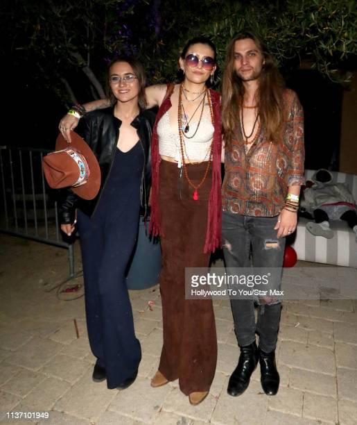 Sarah Moore Paris Jackson and Gabriel Glenn are seen at Coachella on April 14 2019 in Indio California