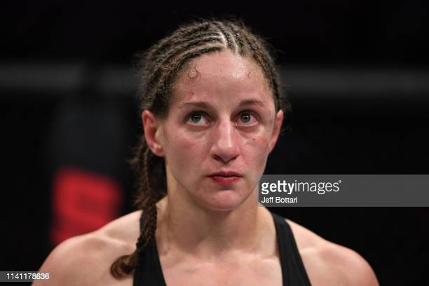 Sarah Moras of Canada reacts after her TKO loss to Macy Chiasson in their women's bantamweight bout during the UFC Fight Night event at Canadian Tire...