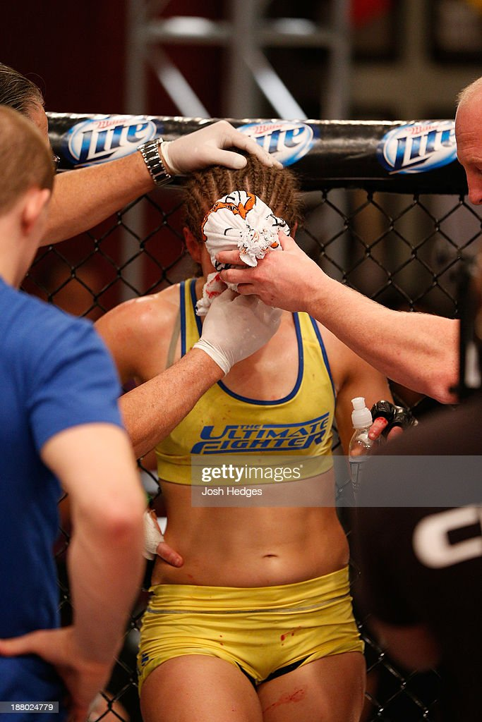 Sarah Moras stands in her corner after being submitted by Julianna Pena in their semifinal fight during filming of season eighteen of The Ultimate Fighter on July 2, 2013 in Las Vegas, Nevada.