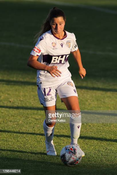 Sarah Morgan of Perth Glory controls the ball during the round three W-League match between Adelaide United and the Perth Glory at Marden Sports...