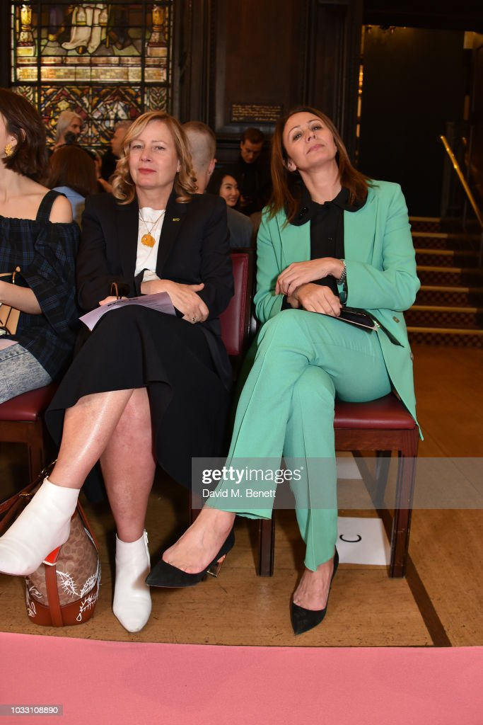 Sarah Mower (L) and Caroline Rush attend the Ryan LO front row during London Fashion Week September 2018 at Stationers' Hall on September 14, 2018 in London, England.
