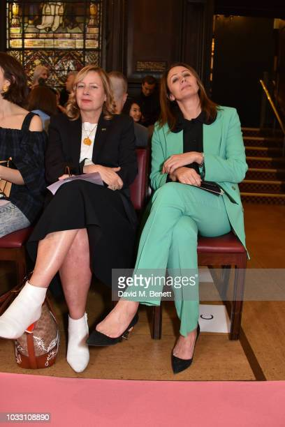 Sarah Mower and Caroline Rush attend the Ryan LO front row during London Fashion Week September 2018 at Stationers' Hall on September 14 2018 in...