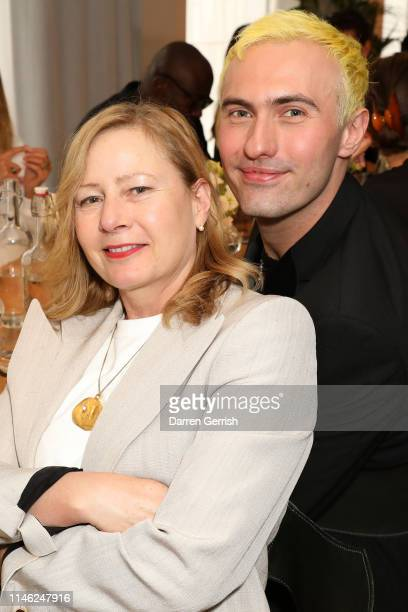 Sarah Mower and Charles Jeffrey attend the BFC/Vogue Designer Fashion Fund announcement lunch on May 01 2019 in London United Kingdom
