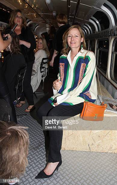 Sarah Mower attends the Hershesons' Pop-Up Blow Dry Bus as part of Vogue Fashion's Night Out on September 6, 2012 in London, England.