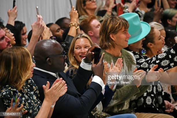 Sarah Mower, Editor-In-Chief of British Vogue Edward Enninful, Kate Moss, Jordan Barrett, Boy George and Olga Kurylenko attend the Richard Quinn SS22...