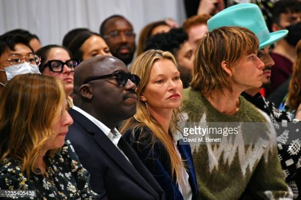 Sarah Mower, Editor-In-Chief of British Vogue Edward Enninful, Kate Moss, Jordan Barrett and Boy George attend the Richard Quinn SS22 show & cocktail...