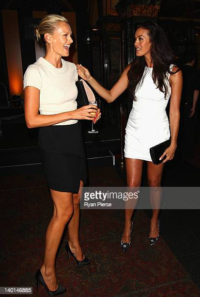 Sarah Murdoch and Megan Gale arrive at the Alex Perry 2012 Collection launch at the Marble Bar on February 29 2012 in Sydney Australia
