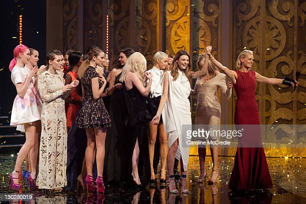 Sarah Murdoch announces Montana Cox as the winner of the Australia's Next Top Model Season 7 live finale at the Sydney Opera House on October 25 2011...