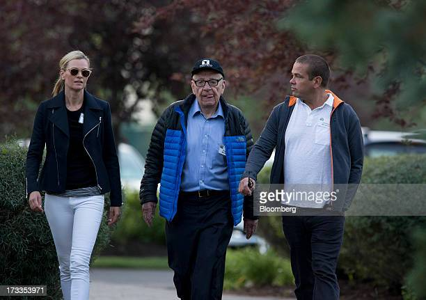 Sarah Murdoch from left Rupert Murdoch chairman and chief executive officer of News Corp and Lachlan Murdoch a board member of News Corp arrive to a...