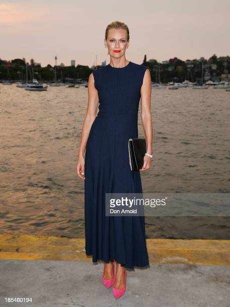 Sarah Murdoch poses before boarding a yacht at a launch event for the November issue of Vogue on October 21 2013 in Sydney Australia