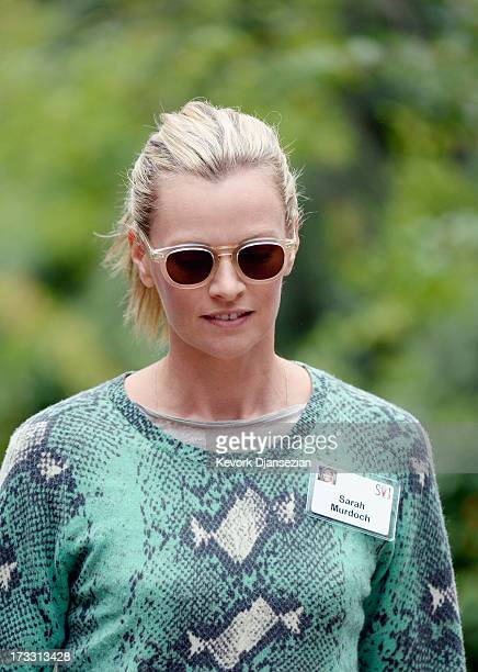 Sarah Murdoch wife of Lachlan Murdoch son of media mogul Rupert Murdoch and executive of Illyria Property Limited attends the Allen Co annual...