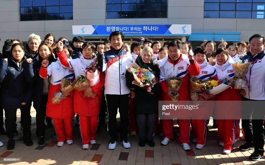 North Korean Olympic Advance Team and Women's Ice Hockey Players Arrive in South Korea : News Photo