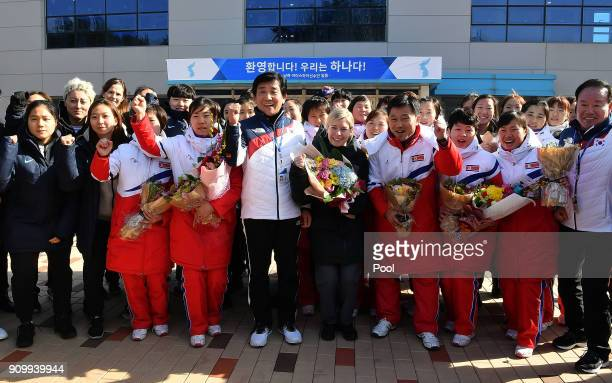 Sarah Murray head coach of the two Korea's unified women's ice hockey team Pak CholHo head coach of the North Korean women's ice hockey team and...