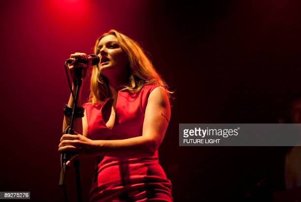 Sarah Nixey of Black Box Recorder performs on stage at the Queen Elizabeth Hall on July 23 2009 in London England