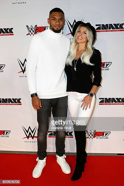 Sarah Nowak and boyfriend Dominic Harrison attend Tim Wiese's first WWE fight at Olympiahalle on November 3 2016 in Munich Germany