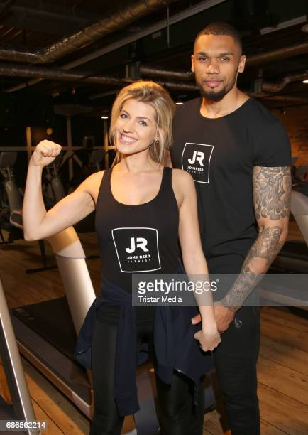 Sarah Nowak and her boyfriend Dominic Harrison attend the JOHN REED Fitness Music Club Opening on April 10 2017 in Hamburg Germany