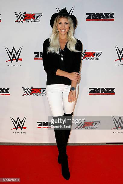 Sarah Nowak attends Tim Wiese's first WWE fight at Olympiahalle on November 3 2016 in Munich Germany