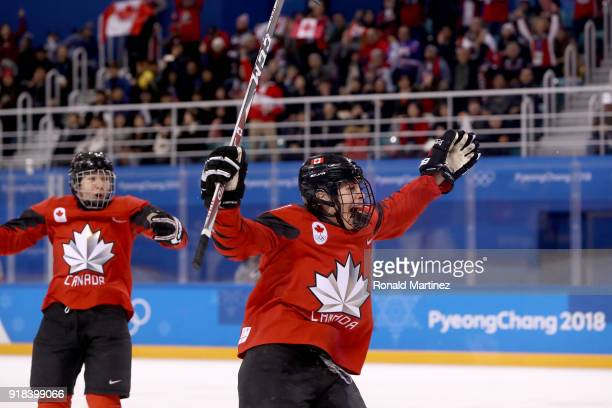 Sarah Nurse of Canada celebrates after scoring in the second period against the United States during the Women's Ice Hockey Preliminary Round Group A...