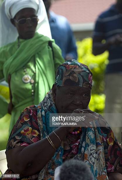 Sarah Obama stepgrandmother to USA's incumbent President Barack Obama gives a press conference held at her homestead on November 6 2012 in the...