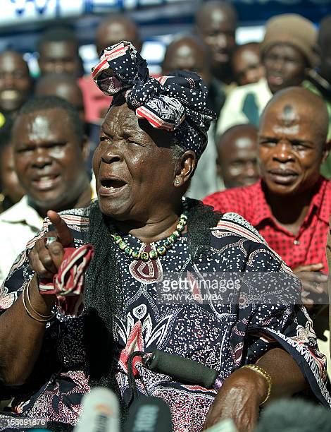 Sarah Obama stepgrandmother to USA's President elect Barak Obama speaks on November 7 2012 in the hamlet of Kogelo in western Kenya during a press...