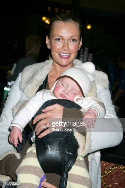 Sarah O'Hare Murdoch and her baby boy Kalan during 'Robots' Special New York Screening and Lobby Party at Ziegfeld Theater in New York City New York...