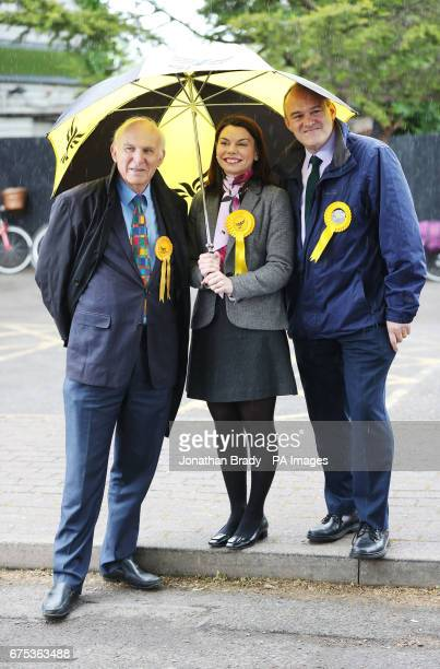 MP Sarah Olney with former cabinet ministers Sir Vince Cable and Sir Ed Davey on a general election campaign visit to Harts Boatyard on the banks of...