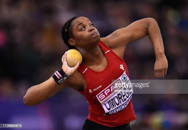 Sarah Omoregie of Cardiff throws during the Women's Shot Put Final during Day Two of the SPAR British Athletics Indoor Championships at Arena...