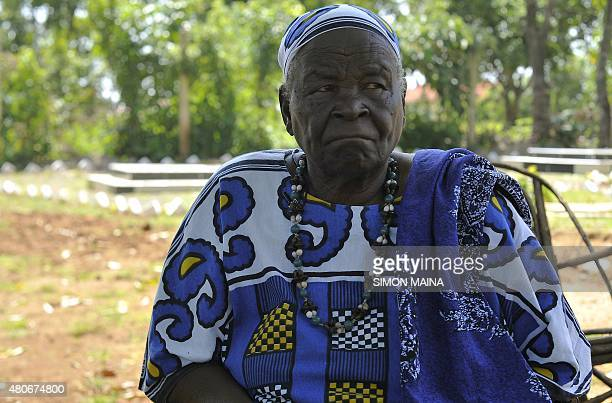 Sarah Onyango Obama US President Barack Obama step grandmother sits in the garden on July 14 2015 at her home in Kogelo western Kenya 'Mama Sarah' as...