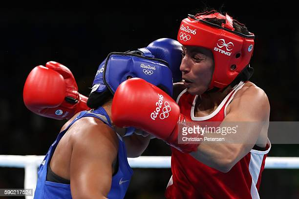Sarah Ourahmoune of France fights against Zhaina Shekerbekova of Kazakhstan during the Women's Fly Quarterfinal 4 on Day 11 of the Rio 2016 Olympic...