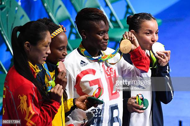 Sarah Ourahmoune of France Nicola Adams of Great Britain Ren Cancan of China and Lorena Ingrit Valencia Victoria of Colombia during a Women's Fly...