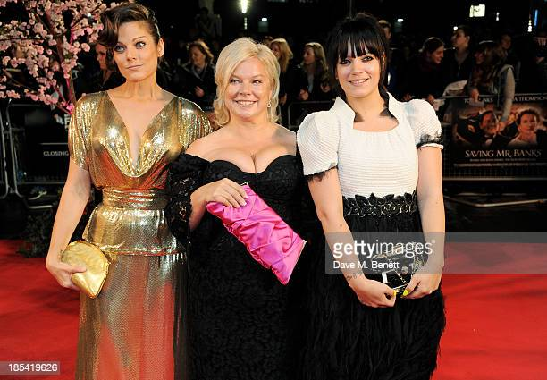 Sarah Owen Alison Owen and Lily Allen attend the Closing Night Gala European Premiere of Saving Mr Banks during the 57th BFI London Film Festival at...