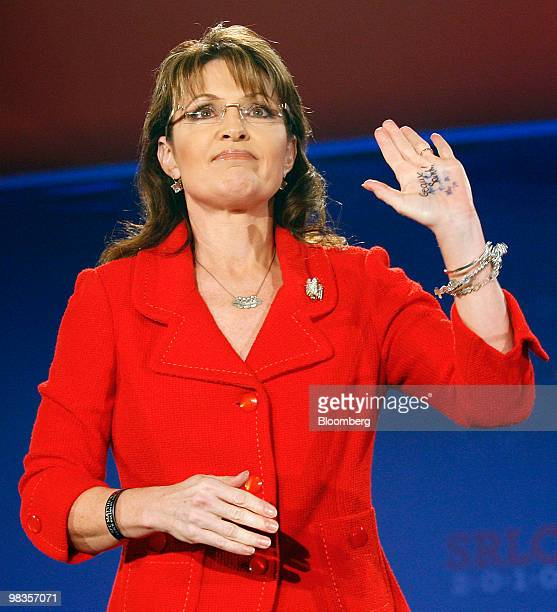 Sarah Palin former governor of Alaska and 2008 vicepresidential candidate waves to the crowd after speaking at the Southern Republican Leadership...