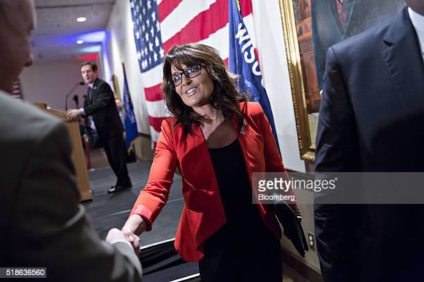 Sarah Palin former governor of Alaska leave the stage after speaking on behalf of Donald Trump president and chief executive of Trump Organization...