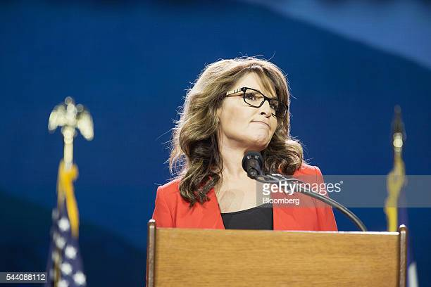 Sarah Palin former governor of Alaska pauses while speaking during the Western Conservative Summit in Denver Colorado US on Friday July 1 2016...