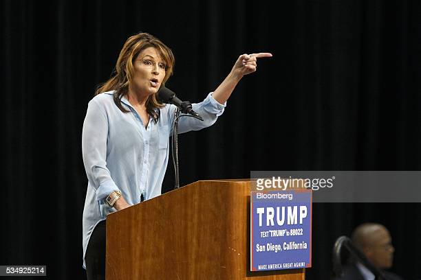 Sarah Palin former governor of Alaska speaks during a campaign event for Donald Trump presumptive Republican presidential nominee not pictured in San...