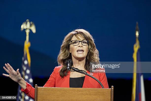 Sarah Palin former governor of Alaska speaks during the Western Conservative Summit in Denver Colorado US on Friday July 1 2016 Republican...