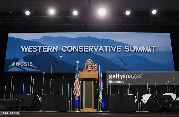 Sarah Palin former governor of Alaska speaks during the Western Conservative Summit in Denver Colorado US on July 1 2016 Republican presidential...