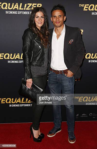 "Sarah Papalinas and John Steffensen pose on the red carpet at ""The Equalizer"" Sydney Premiere at Event Cinemas George Street onSeptember 22, 2014 in..."