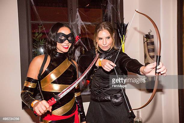 Sarah Parker and Amanda Temple appear at Mariah Carey's Festive Halloween Party at her Beverly Hills Airbnb home on October 31 2015 in Los Angeles...