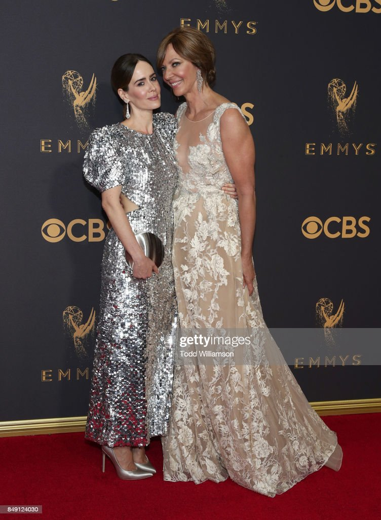 Sarah Paulson and Allison Janney attend the 69th Annual Primetime Emmy Awards at Microsoft Theater on September 17, 2017 in Los Angeles, California.