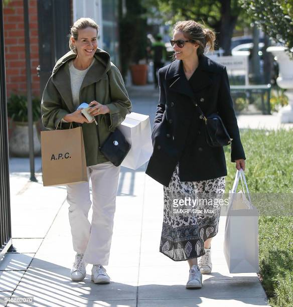 Sarah Paulson and Amanda Peet are seen on April 19 2018 in Los Angeles CA