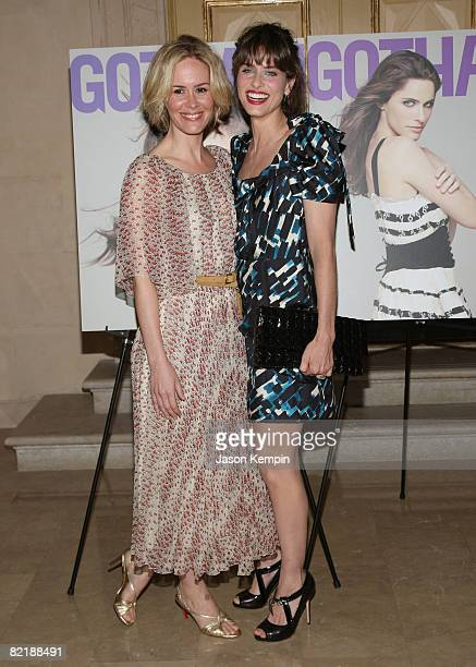 Sarah Paulson and Amanda Peet attend a celebration for actress Amanda Peet's cover on Gotham's newest issue at The Plaza Hotel on August 5, 2008 in...