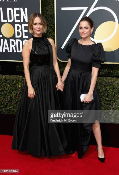 Sarah Paulson and Amanda Peet attend The 75th Annual Golden Globe Awards at The Beverly Hilton Hotel on January 7 2018 in Beverly Hills California