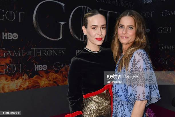 """Sarah Paulson and Amanda Peet attend the """"Game Of Thrones"""" Season 8 NY Premiere on April 3, 2019 in New York City."""